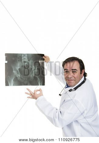 A happy specialist physician holding x ray
