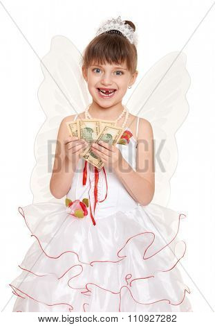 lost tooth child dressed as tooth fairy with gifts and money