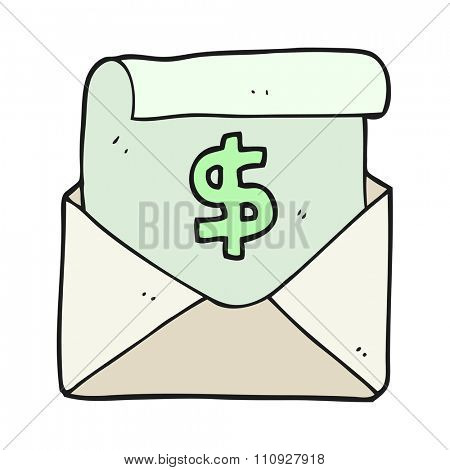 freehand drawn cartoon payment letter