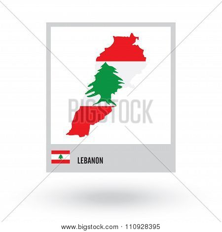 Map of Lebanon with national flag. vector EPS10.
