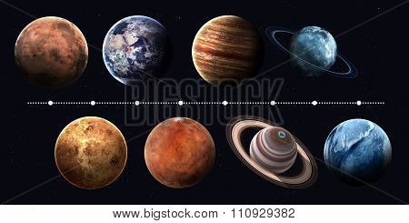 Solar system planets, pluto and sun in highest quality and resolution. Elements of this image furnis