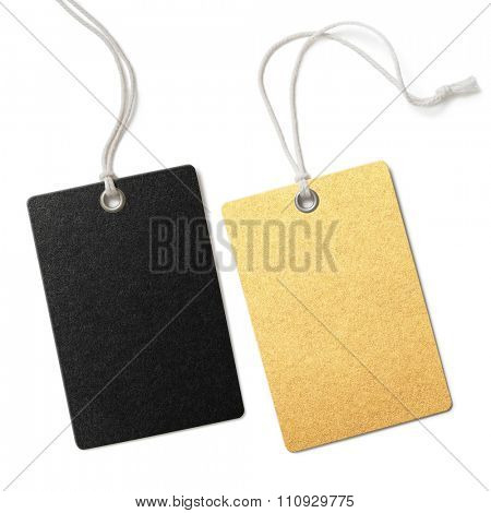 Gold and black blank cloth price tags set isolated