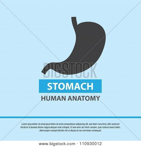Stomach symbol, medical icon. Vector illustration