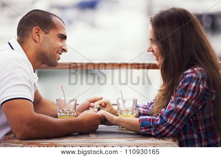 Couple enjoying their love at the bar