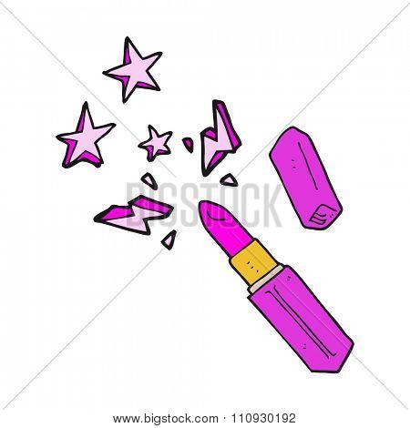 freehand drawn cartoon vivid lipstick