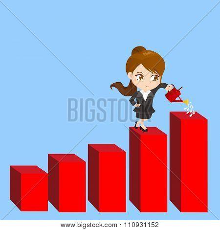 Cartoon Businesswoman Shows Sale Growth