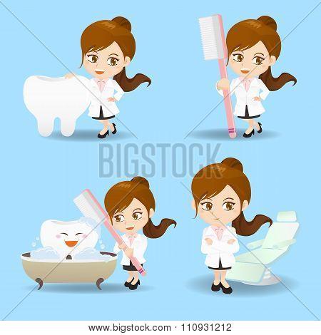 Cartoon Doctor Dentist Woman