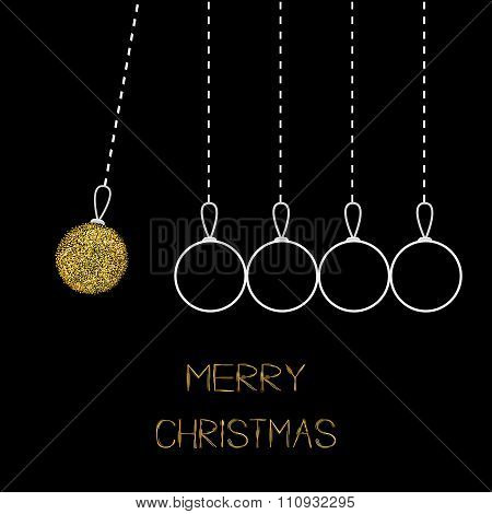 Hanging Christmas Balls. Dash Line. White Line And Gold Glitter. Perpetual Motion. Black Background.