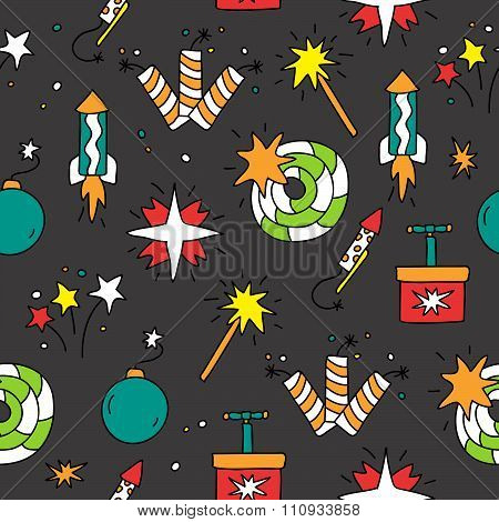 Seamless pattern of the icons of pyrotechnics