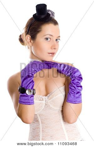 Attractive Woman In Corset, Gloves And Little Hat