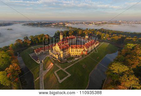 Niasvizh castle, Belarus. Aerial photo