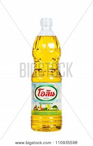 Vegetable Oil. Brand Oleen. Isolated White Background.