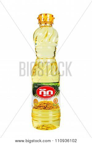 Vegetable Oil. Brand Cook Isolated White Background.