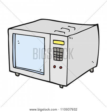freehand drawn cartoon microwave