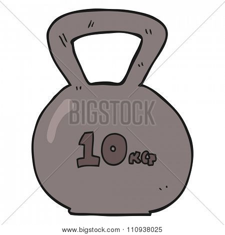 freehand drawn cartoon 10kg kettle bell weight