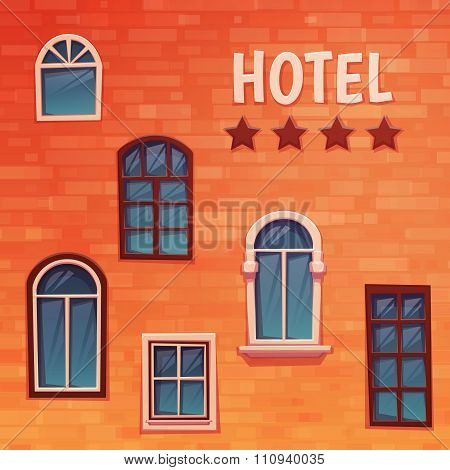 Background of wall with windows and hostel title. Vector illustration