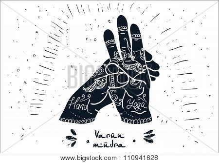 Element yoga varun mudra hands with mehendi patterns.