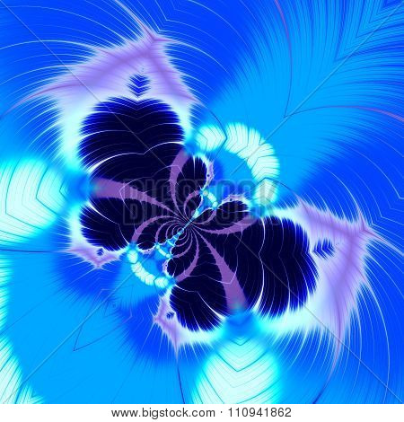 Abstract blue butterfly fractal. Crazy line art. Visual effect idea. Made in full frame.