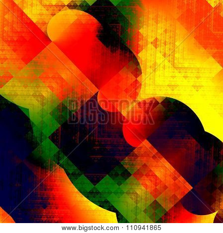 Abstract colorful fractal shapes. Modern digital art. Rough color surface. Dirty messy clutter.