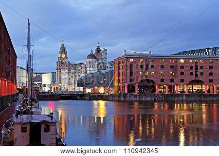 View Of Liverpool's Historic Waterfront Taken From Albert Dock