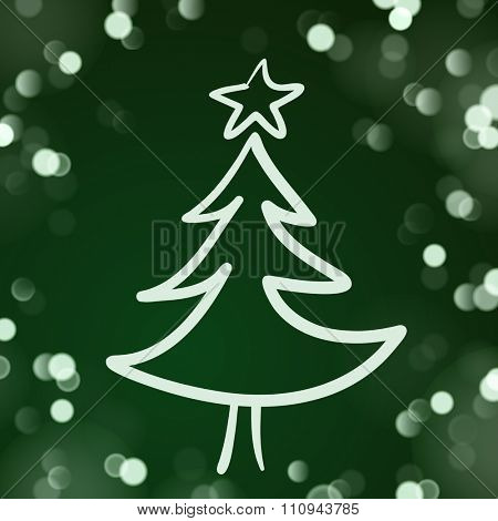 The Sketch of the Christmas Tree on the Dark Green Background with Lights