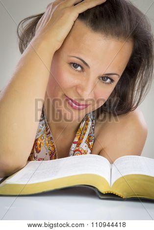 Beautiful Woman Reading Holy Bible
