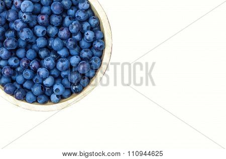 Bowl Of Blueberries Isolated On White