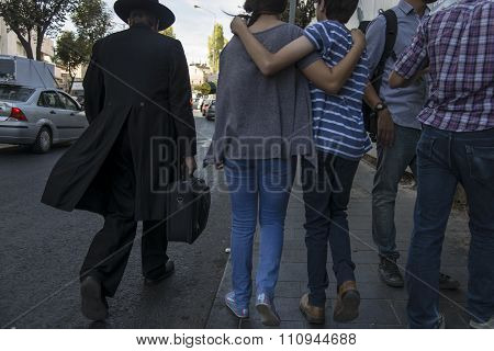 Jerusalem, Israel- September 27, 2015: ortodox jewish man walking in the street