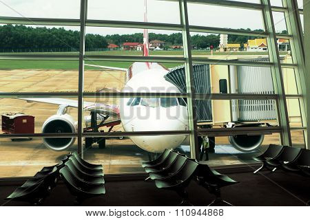 Airport Window View At Departure Hall