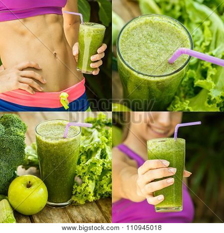 Athletic Girl Holding A Green Smoothie, Collage