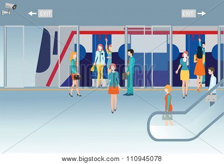 Subway Train Station Platform With People Traveling.