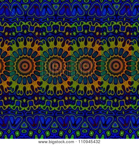 Blue psychedelic pattern background. Loony blob pic. Cool arab arts. Tribal art concept.