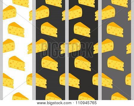 Seamless Pattern With Cheese. Cheese With Holes. Set.