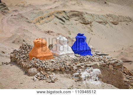 Stupas in the Himalayas (Buddhistic symbol) - Ladakh