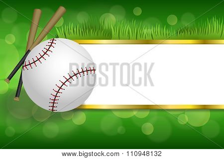 Background abstract green sport white baseball ball club gold strips frame illustration vector