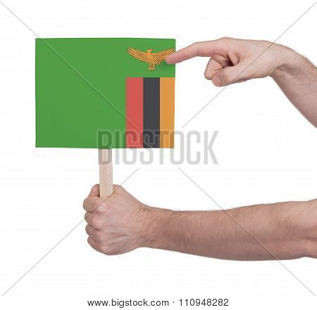 Hand Holding Small Card - Flag Of Zambia