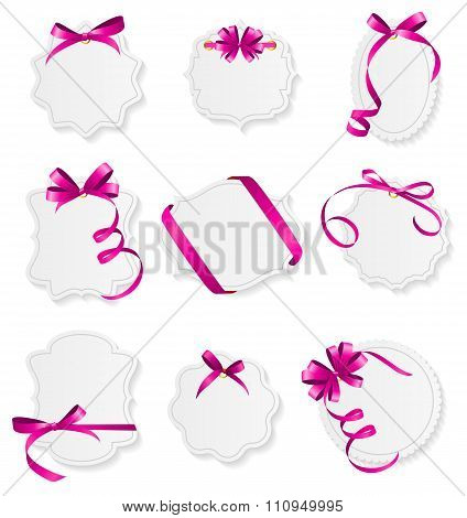 Card with Pink Ribbon and Bow Set. Vector illustration
