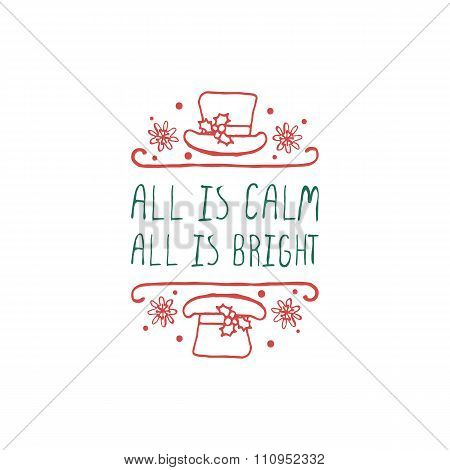 Christmas label with text on white background