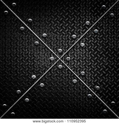 black diamond plate with X pattern