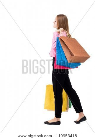 back view of going  woman  with shopping bags . beautiful girl in motion.  backside view of person.  solated over white background. Woman sitting businessman throwing shoulder bag.