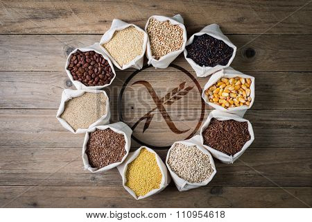 Gluten Free Cereals And Seeds With Logo