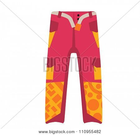 Snowboard sport clothes trousers design element. Snowboarding trousers element isolated on background. Snowboard vector cloth, snowboard trousers, snowboard board. Snowboard winter sport equipment