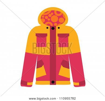 Snowboard sport clothes jacket design element. Snowboarding jacket element isolated on background. Snowboard vector cloth, snowboard jacket, snowboard board. Snowboard winter sport equipment. Snow
