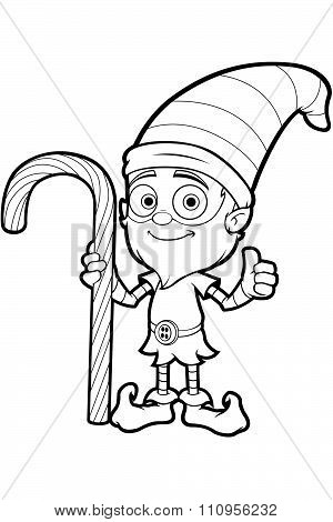 Old Elf Character In Black And White