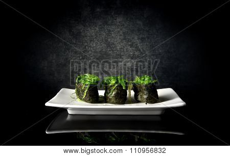 Spicy sushi with seaweed