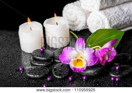 Beautiful Spa Still Life Of Purple Orchid Dendrobium, Leaf With Dew, Towels, Candles And Pearl Beads