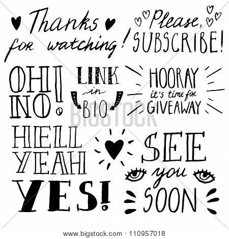 Hand drawn lettering for blogs, social media, geek postcard. Ink texture.