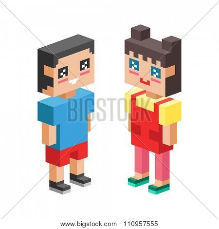 3d isometric kids couples together. Children, kids people concept 3d icons. Friends, love, first time, baby club and childhood. Children together concept. People kids, kids isolated vector icons