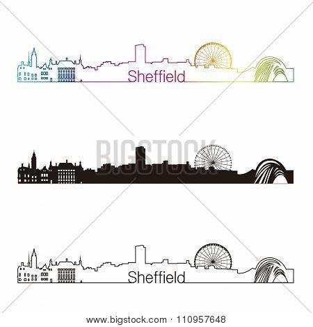Sheffield Skyline Linear Style With Rainbow