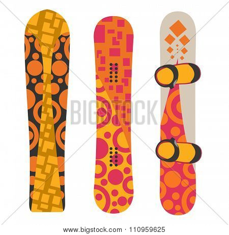 Snowboard sport boards elements. Snowboarding elements isolated on white background. Snowboard vector boards, snowboard sport, snowboard board. Snowboard winter sport equipment. Snow board